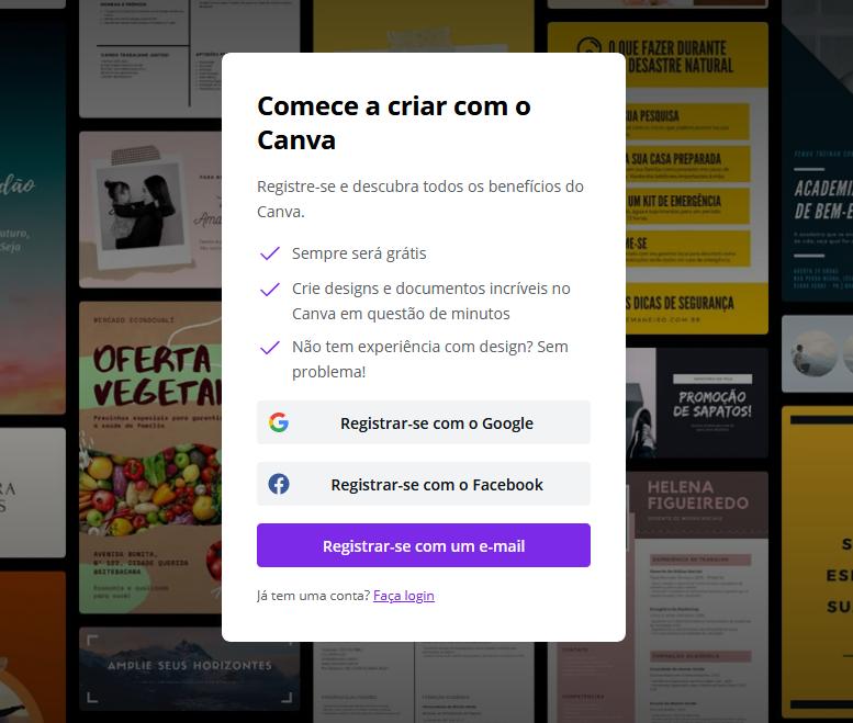 Página de Registro do Canva - Para acessa-la digite: https://www.canva.com/pt_br/